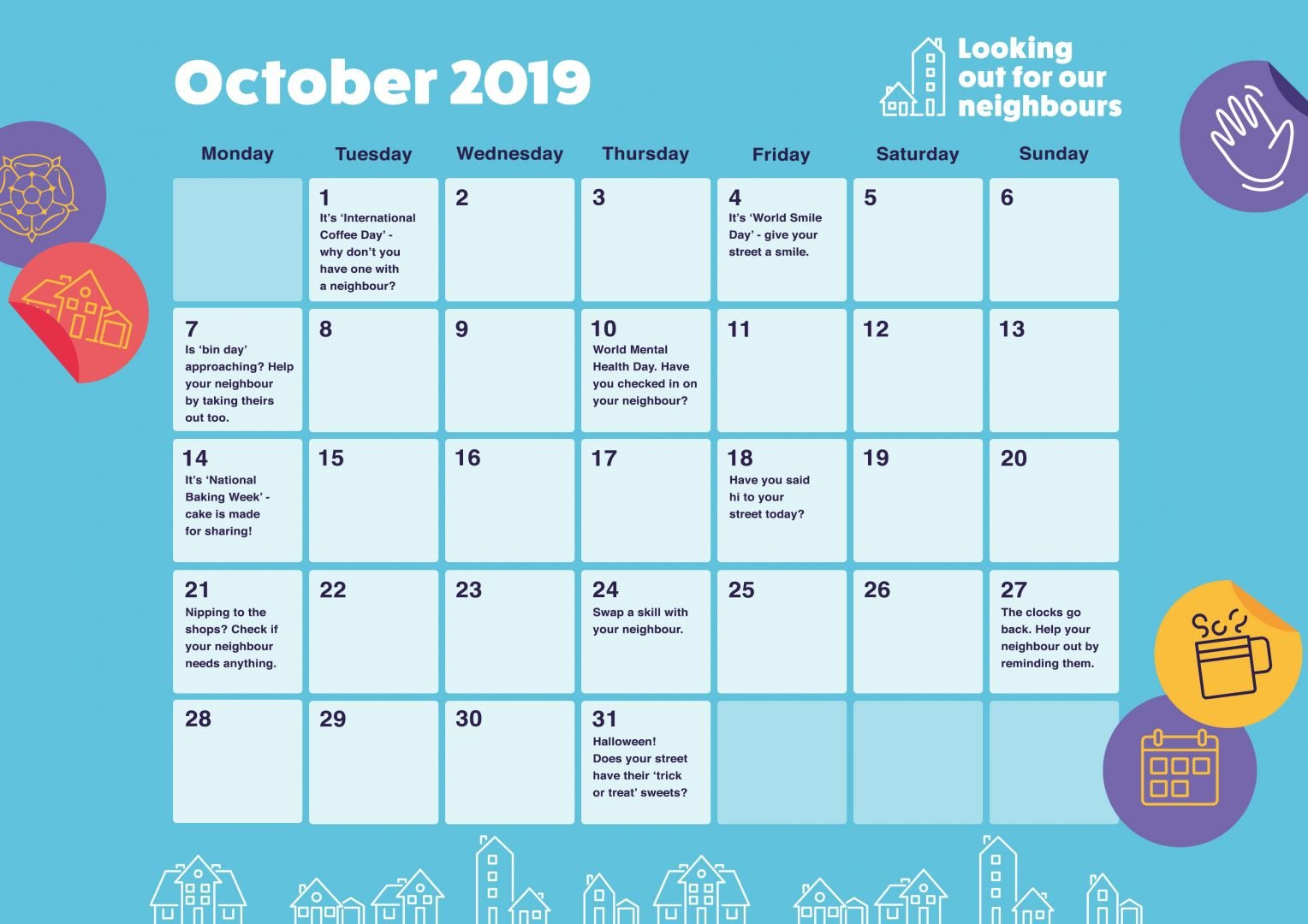 Looking out for our neighbours - October activities calendar