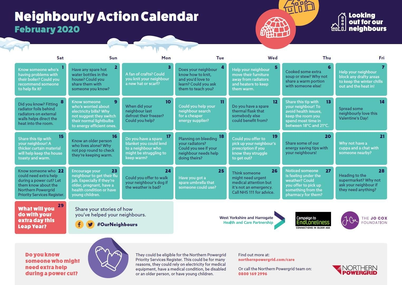 looking out for our neighbour - activities calendar